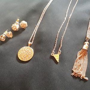 Rose goldtone jewelry bundle